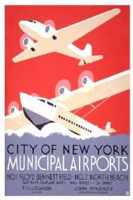 Vintage City of New York Municipal Airlines Travel Poster